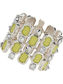 Yellow Jewel And Stud Bracelet - predominant colour: primrose yellow; secondary colour: silver; occasions: casual, evening, occasion, holiday; style: cuff; size: large/oversized; material: chain/metal; trends: fluorescent; finish: metallic; embellishment: jewels