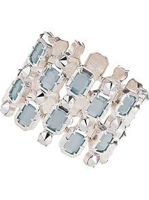 Aqua Jewel And Stud Bracelet - predominant colour: pale blue; secondary colour: silver; occasions: casual, evening, occasion, holiday; style: cuff; size: large/oversized; material: chain/metal; trends: metallics; finish: metallic; embellishment: jewels