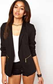 Blazer Jacket - pattern: plain; style: single breasted blazer; length: below the bottom; collar: standard lapel/rever collar; predominant colour: black; occasions: casual, evening, work, occasion; fit: tailored/fitted; fibres: polyester/polyamide - stretch; sleeve length: long sleeve; sleeve style: standard; texture group: crepes; trends: tuxedo; collar break: low/open; pattern type: fabric