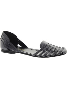 Sacha Slipper Shoes - predominant colour: black; occasions: casual; material: leather; heel height: flat; toe: round toe; style: ballerinas / pumps; finish: plain; pattern: plain