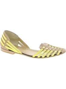 Sacha Neon Slipper Shoes - secondary colour: lime; predominant colour: camel; occasions: casual, holiday; material: leather; heel height: flat; toe: round toe; style: ballerinas / pumps; trends: fluorescent; finish: plain; pattern: colourblock