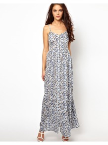 Printed Maxi Cami Dress - sleeve style: spaghetti straps; style: maxi dress; neckline: sweetheart; waist detail: twist front waist detail/nipped in at waist on one side/soft pleats/draping/ruching/gathering waist detail; predominant colour: pale blue; occasions: casual, holiday; length: floor length; fit: fitted at waist & bust; fibres: viscose/rayon - 100%; hip detail: soft pleats at hip/draping at hip/flared at hip; back detail: crossover; sleeve length: sleeveless; trends: high impact florals; pattern type: fabric; pattern size: small & busy; pattern: florals; texture group: jersey - stretchy/drapey