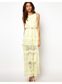 Lace Maxi Dress - neckline: slash/boat neckline; fit: fitted at waist; pattern: plain; sleeve style: sleeveless; style: maxi dress; waist detail: belted waist/tie at waist/drawstring; predominant colour: primrose yellow; occasions: casual, evening, occasion, holiday; length: floor length; fibres: polyester/polyamide - 100%; sleeve length: sleeveless; texture group: lace; pattern type: fabric; embellishment: lace