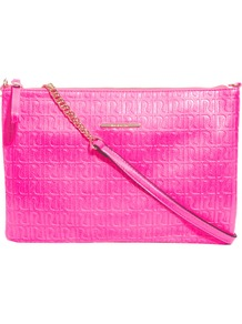 Pink Neon Ri Emboss Pochette - predominant colour: hot pink; occasions: casual, evening; style: shoulder; length: across body/long; size: standard; material: faux leather; pattern: monogram; trends: fluorescent; finish: fluorescent; embellishment: chain/metal