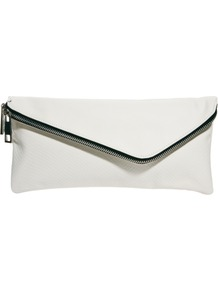White Assymetric Zip Clutch Bag - predominant colour: white; occasions: evening, occasion; style: clutch; length: hand carry; size: small; material: faux leather; embellishment: zips; pattern: plain; finish: plain