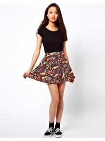 Comic Print Skater Skirt - length: mid thigh; fit: loose/voluminous; waist: mid/regular rise; predominant colour: true red; secondary colour: primrose yellow; occasions: casual; style: fit & flare; fibres: cotton - stretch; hip detail: soft pleats at hip/draping at hip/flared at hip; trends: statement prints; pattern type: fabric; pattern size: big & busy; pattern: patterned/print; texture group: jersey - stretchy/drapey