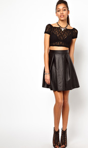High Waisted Leather Look Skater Skirt - pattern: plain; style: full/prom skirt; fit: loose/voluminous; waist detail: fitted waist; waist: mid/regular rise; predominant colour: black; occasions: casual, evening; length: just above the knee; fibres: polyester/polyamide - stretch; hip detail: structured pleats at hip; texture group: rubber/latex; pattern type: fabric