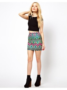 Palm Print Mini Skirt - length: mini; fit: tight; waist detail: elasticated waist; hip detail: fitted at hip; waist: mid/regular rise; secondary colour: hot pink; predominant colour: turquoise; occasions: casual, evening, holiday; style: mini skirt; fibres: polyester/polyamide - stretch; texture group: jersey - clingy; trends: statement prints; pattern type: fabric; pattern size: standard; pattern: patterned/print