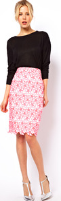 Pencil Skirt With Neon Embroidery - style: pencil; fit: tailored/fitted; waist detail: fitted waist; waist: mid/regular rise; predominant colour: pink; secondary colour: blush; occasions: evening, work; length: just above the knee; fibres: cotton - 100%; trends: high impact florals, fluorescent; pattern type: fabric; pattern size: standard; pattern: patterned/print; texture group: woven light midweight; embellishment: embroidered