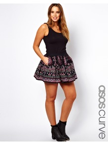 Curve Skater Skirt With Embroidery Print - length: mini; fit: loose/voluminous; waist: mid/regular rise; secondary colour: hot pink; predominant colour: black; occasions: casual, holiday; style: mini skirt; fibres: cotton - 100%; hip detail: soft pleats at hip/draping at hip/flared at hip; texture group: cotton feel fabrics; trends: high impact florals; pattern type: fabric; pattern size: small &amp; busy; pattern: patterned/print; embellishment: embroidered