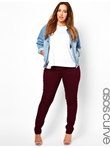 Curve Supersoft Skinny Jean In Oxblood - style: skinny leg; length: standard; pattern: plain; waist: high rise; pocket detail: traditional 5 pocket; predominant colour: burgundy; occasions: casual, evening, holiday; fibres: cotton - stretch; texture group: denim; pattern type: fabric