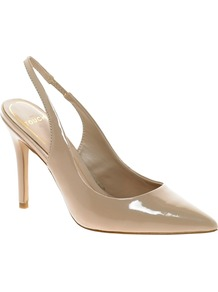 Nude Patent Slingback Heeled Shoes - predominant colour: champagne; occasions: evening, work, occasion, holiday; material: leather; heel height: high; embellishment: elasticated; heel: stiletto; toe: pointed toe; style: slingbacks; finish: patent; pattern: plain