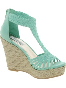 Rise Weave Wedges - predominant colour: pistachio; occasions: casual, holiday; material: fabric; heel height: high; ankle detail: ankle strap; heel: wedge; toe: open toe/peeptoe; style: standard; finish: plain; pattern: plain