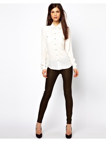 Midnight Magic Leggings - length: standard; pattern: plain; style: leggings; waist detail: elasticated waist; waist: low rise; secondary colour: gold; predominant colour: black; occasions: casual, evening; fibres: viscose/rayon - stretch; texture group: jersey - clingy; trends: metallics; fit: skinny/tight leg; pattern type: fabric
