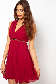 Wrap Detail Dress - style: faux wrap/wrap; length: mid thigh; neckline: low v-neck; fit: empire; pattern: plain; sleeve style: sleeveless; waist detail: belted waist/tie at waist/drawstring; predominant colour: burgundy; occasions: evening, occasion; fibres: polyester/polyamide - 100%; hip detail: soft pleats at hip/draping at hip/flared at hip; sleeve length: sleeveless; texture group: sheer fabrics/chiffon/organza etc.; pattern type: fabric