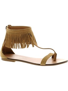 Suede Fringe Sandals - predominant colour: camel; occasions: casual, holiday; material: suede; heel height: flat; ankle detail: ankle strap; heel: standard; toe: toe thongs; style: flip flops / toe post; finish: plain; pattern: plain; embellishment: fringing