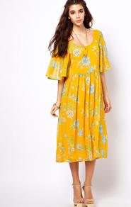 Midi Dress With Kimono Sleeve In Floral Print - style: smock; length: below the knee; fit: loose; sleeve style: kimono; secondary colour: pale blue; predominant colour: yellow; occasions: casual, holiday; neckline: scoop; fibres: polyester/polyamide - 100%; hip detail: soft pleats at hip/draping at hip/flared at hip; sleeve length: 3/4 length; texture group: sheer fabrics/chiffon/organza etc.; trends: high impact florals; pattern type: fabric; pattern size: small & light; pattern: florals