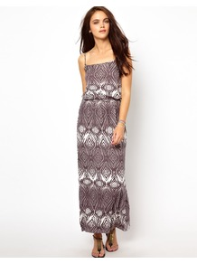 Waisted Dress In Absract Print - sleeve style: spaghetti straps; fit: fitted at waist; style: maxi dress; length: ankle length; waist detail: elasticated waist; secondary colour: white; predominant colour: taupe; occasions: casual, holiday; fibres: viscose/rayon - stretch; sleeve length: sleeveless; trends: statement prints; neckline: low square neck; pattern type: fabric; pattern size: standard; pattern: patterned/print; texture group: jersey - stretchy/drapey