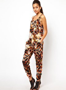 Animal Print Jumpsuit - sleeve style: standard vest straps/shoulder straps; fit: fitted at waist; waist detail: elasticated waist; occasions: casual, evening; length: ankle length; neckline: scoop; fibres: polyester/polyamide - 100%; predominant colour: multicoloured; sleeve length: sleeveless; texture group: crepes; trends: statement prints; style: jumpsuit; pattern type: fabric; pattern size: big & busy; pattern: animal print