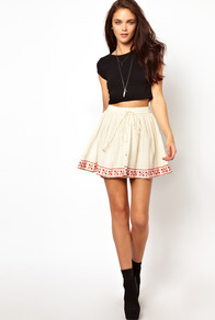 Embroidered Hem Skirt - length: mini; pattern: plain; style: full/prom skirt; fit: loose/voluminous; waist: high rise; waist detail: belted waist/tie at waist/drawstring; predominant colour: ivory; secondary colour: true red; occasions: casual, evening, holiday; fibres: cotton - 100%; hip detail: contrast fabric/print detail at hip; texture group: cotton feel fabrics; trends: volume; pattern type: fabric; embellishment: embroidered