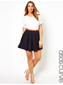 Curve Exclusive Tailored Skater Skirt With Belt - length: mid thigh; pattern: plain; fit: body skimming; waist: high rise; waist detail: belted waist/tie at waist/drawstring; predominant colour: navy; occasions: casual, evening; style: fit &amp; flare; fibres: polyester/polyamide - stretch; hip detail: soft pleats at hip/draping at hip/flared at hip; pattern type: fabric; texture group: jersey - stretchy/drapey