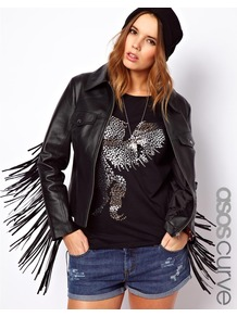 Curve Leather Jacket With Fringing - pattern: plain; style: bomber; predominant colour: black; occasions: casual, evening; length: standard; fit: straight cut (boxy); fibres: leather - 100%; collar: shirt collar/peter pan/zip with opening; sleeve length: long sleeve; sleeve style: standard; texture group: leather; collar break: high; pattern type: fabric; embellishment: fringing