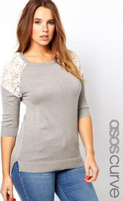 Curve Jumper With Lace Inserts - neckline: round neck; pattern: plain; length: below the bottom; style: standard; shoulder detail: contrast pattern/fabric at shoulder; secondary colour: ivory; predominant colour: light grey; occasions: casual; fibres: cotton - mix; fit: slim fit; sleeve length: 3/4 length; sleeve style: standard; texture group: knits/crochet; pattern type: knitted - fine stitch; embellishment: lace
