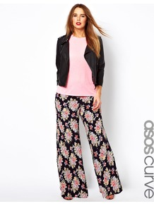 Curve Wide Leg Trouser In Vintage Floral - style: palazzo; waist: high rise; length: extra long; occasions: casual, evening, holiday; fibres: viscose/rayon - 100%; predominant colour: multicoloured; trends: high impact florals; fit: wide leg; pattern type: fabric; pattern size: big & busy; pattern: florals; texture group: other - light to midweight