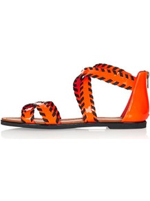 Figaro3 Whipstitch Sandals - predominant colour: bright orange; secondary colour: black; occasions: casual, holiday; material: faux leather; heel height: flat; embellishment: zips; ankle detail: ankle strap; heel: standard; toe: open toe/peeptoe; style: strappy; trends: fluorescent; finish: patent; pattern: colourblock