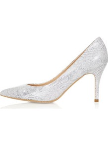 Gene Midi Pointed Courts - predominant colour: light grey; occasions: evening, work, occasion; material: leather; heel height: mid; heel: stiletto; toe: pointed toe; style: courts; trends: metallics; finish: plain; pattern: patterned/print