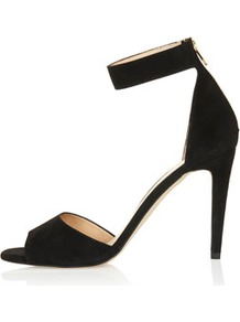 Rees 2 Part Hi Sandals - predominant colour: black; occasions: evening, occasion; material: suede; heel height: high; embellishment: zips; ankle detail: ankle strap; heel: stiletto; toe: open toe/peeptoe; style: standard; finish: plain; pattern: plain