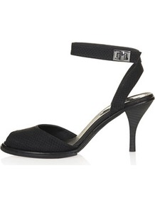 Nylon Two Part Mid Sandals - predominant colour: black; occasions: evening, work, occasion; material: leather; heel height: mid; ankle detail: ankle strap; heel: stiletto; toe: open toe/peeptoe; style: standard; finish: plain; pattern: animal print