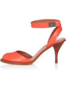 Nylon Two Part Mid Sandals - predominant colour: coral; occasions: casual, evening, occasion; material: leather; heel height: mid; ankle detail: ankle strap; heel: stiletto; toe: open toe/peeptoe; style: standard; finish: plain; pattern: plain