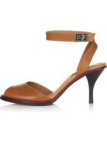 Nylon Two Part Mid Sandals - predominant colour: tan; occasions: casual, evening, occasion; material: leather; heel height: mid; ankle detail: ankle strap; heel: stiletto; toe: open toe/peeptoe; style: standard; finish: plain; pattern: plain