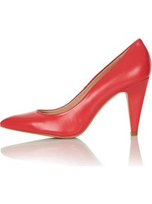 Gail Pointed Courts - predominant colour: true red; occasions: evening, work, occasion; material: leather; heel height: high; heel: stiletto; toe: pointed toe; style: courts; finish: plain; pattern: plain