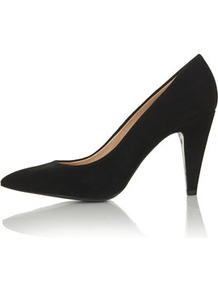 Gail Pointed Courts - predominant colour: black; occasions: evening, work, occasion; material: suede; heel height: high; heel: stiletto; toe: pointed toe; style: courts; finish: plain; pattern: plain