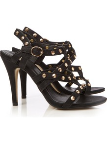 Black Strappy Sandal - predominant colour: black; occasions: evening, occasion; material: faux leather; heel height: high; embellishment: studs; ankle detail: ankle strap; heel: stiletto; toe: open toe/peeptoe; style: strappy; finish: plain; pattern: plain