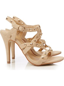 Nude Strappy Sandal - predominant colour: nude; occasions: evening, occasion, holiday; material: faux leather; heel height: high; embellishment: studs; ankle detail: ankle strap; heel: stiletto; toe: open toe/peeptoe; style: strappy; finish: plain; pattern: plain