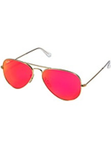 Metal Aviator Sunglasses - predominant colour: hot pink; secondary colour: light grey; occasions: casual, holiday; style: aviator; size: standard; material: chain/metal; pattern: plain; trends: fluorescent; finish: fluorescent