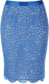 Hailey Skirt - pattern: plain; style: pencil; fit: tailored/fitted; waist: high rise; predominant colour: diva blue; occasions: evening, occasion; length: just above the knee; fibres: cotton - mix; texture group: lace; pattern type: fabric
