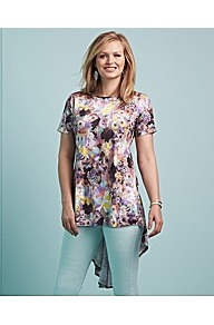 Edit Printed Trapeze Top - neckline: round neck; length: below the bottom; predominant colour: lilac; occasions: casual, evening, holiday; style: top; fibres: polyester/polyamide - stretch; fit: loose; back detail: longer hem at back than at front; sleeve length: short sleeve; sleeve style: standard; pattern type: fabric; pattern size: big & busy; pattern: patterned/print; texture group: jersey - stretchy/drapey