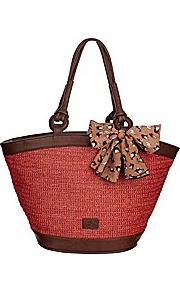 Nica Savannah Tote Handbag - predominant colour: true red; secondary colour: chocolate brown; occasions: casual, holiday; style: tote; length: shoulder (tucks under arm); size: standard; material: macrame/raffia/straw; pattern: plain; finish: plain
