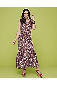 Marisota Contemporary Ditsy Print Maxi Dress Len - sleeve style: sleeveless; style: maxi dress; waist detail: fitted waist; occasions: casual, holiday; length: floor length; fit: body skimming; neckline: scoop; fibres: viscose/rayon - 100%; predominant colour: multicoloured; sleeve length: sleeveless; trends: high impact florals; pattern type: fabric; pattern size: small & busy; pattern: florals; texture group: jersey - stretchy/drapey