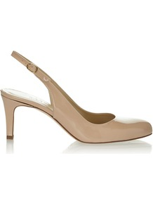 Tina Slingback, Nude - predominant colour: nude; occasions: evening, work, occasion, holiday; material: leather; heel height: mid; heel: standard; toe: round toe; style: slingbacks; finish: patent; pattern: plain