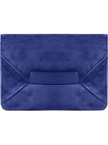 Gracie Bag, China Blue - predominant colour: royal blue; occasions: evening, occasion; type of pattern: standard; style: clutch; length: hand carry; size: standard; material: suede; pattern: plain; finish: plain