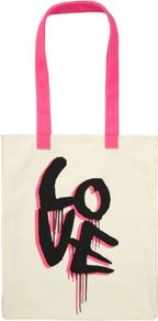 Teens Cream Love Shopper Bag - predominant colour: ivory; secondary colour: hot pink; occasions: casual, holiday; type of pattern: large; style: tote; length: handle; size: standard; material: fabric; finish: plain; pattern: patterned/print