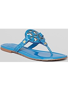 Thong Sandals Miller - predominant colour: diva blue; secondary colour: gold; occasions: casual, evening, holiday; material: leather; heel height: flat; embellishment: studs; heel: standard; toe: toe thongs; style: flip flops / toe post; finish: plain; pattern: animal print