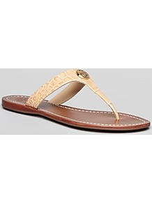 Thong Sandals Cameron - predominant colour: camel; secondary colour: gold; occasions: casual, evening, work, holiday; material: leather; heel height: flat; embellishment: studs; heel: standard; toe: toe thongs; style: flip flops / toe post; finish: plain; pattern: animal print