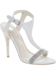 Rhinestone T Bar Sandals - predominant colour: white; occasions: evening, occasion; material: leather; heel height: high; embellishment: crystals; ankle detail: ankle strap; heel: stiletto; toe: open toe/peeptoe; style: strappy; finish: plain; pattern: plain
