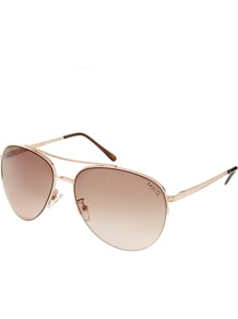 Semi Rimless Aviator Sunglasses - secondary colour: chocolate brown; predominant colour: gold; occasions: casual, evening, work, occasion, holiday; style: aviator; size: standard; material: chain/metal; pattern: plain; finish: metallic